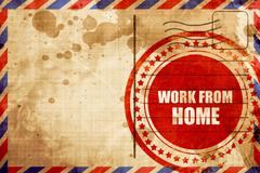 work from home, red grunge stamp on an airmail background - stock illustration