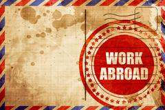 Work abroad, red grunge stamp on an airmail background Stock Illustration