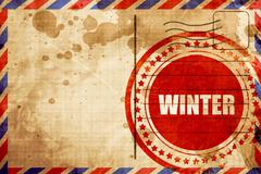 Winter, red grunge stamp on an airmail background Stock Illustration