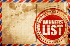 Winners list, red grunge stamp on an airmail background Stock Illustration