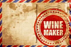 wine maker, red grunge stamp on an airmail background - stock illustration