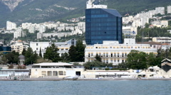 View from the sea on the embankment in Yalta, the Crimea Stock Footage
