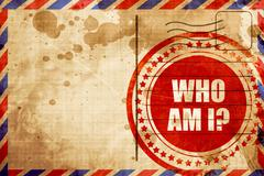 who am i?, red grunge stamp on an airmail background - stock illustration