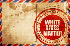 White lives matter, red grunge stamp on an airmail background Stock Illustration