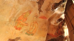 Ancient paintings at Sigiriya rock in Sigiriya, Sri Lanka. Stock Footage
