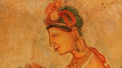 Ancient paintings at Sigiriya rock in Sigiriya, Sri Lanka. Stock Footage