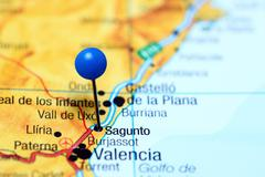 Sagunto pinned on a map of Spain - stock photo
