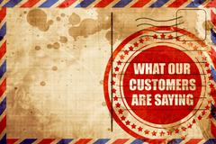 What our customers are saying, red grunge stamp on an airmail ba Stock Illustration