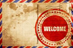 Welcome, red grunge stamp on an airmail background Stock Illustration