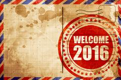 welcome 2016, red grunge stamp on an airmail background - stock illustration