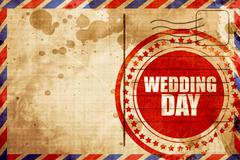 wedding day, red grunge stamp on an airmail background - stock illustration