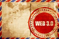 Web 3.0, red grunge stamp on an airmail background Stock Illustration