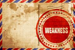 Weakness, red grunge stamp on an airmail background Stock Illustration