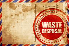 waste disposal, red grunge stamp on an airmail background - stock illustration