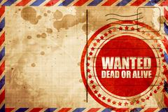 wanted dead or alive, red grunge stamp on an airmail background - stock illustration