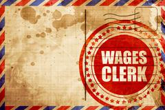 wages clerk, red grunge stamp on an airmail background - stock illustration