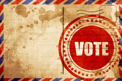 vote, red grunge stamp on an airmail background - stock illustration