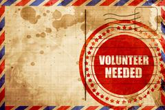 Volunteer needed, red grunge stamp on an airmail background Stock Illustration