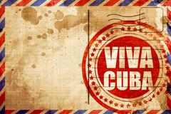 viva cuba, red grunge stamp on an airmail background - stock illustration