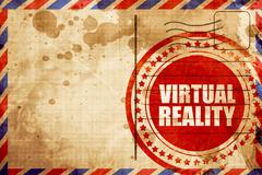 virtual reality, red grunge stamp on an airmail background - stock illustration