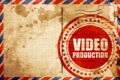 video production, red grunge stamp on an airmail background - stock illustration