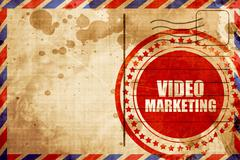 Video marketing, red grunge stamp on an airmail background Piirros