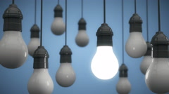 Hanging Light Bulbs Bright Idea Stock Footage