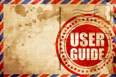 user guide, red grunge stamp on an airmail background - stock illustration
