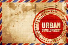 urban development, red grunge stamp on an airmail background - stock illustration