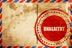 unhealthy, red grunge stamp on an airmail background - stock illustration
