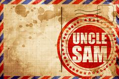 uncle sam, red grunge stamp on an airmail background - stock illustration