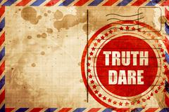 truth or dare, red grunge stamp on an airmail background - stock illustration