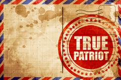 True patriot, red grunge stamp on an airmail background Stock Illustration