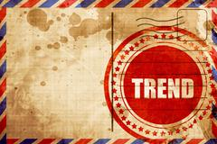 trends, red grunge stamp on an airmail background - stock illustration