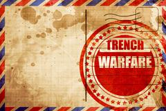 trench warfare sign, red grunge stamp on an airmail background - stock illustration