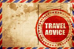 travel advice, red grunge stamp on an airmail background - stock illustration