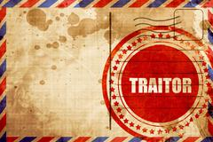 Traitor, red grunge stamp on an airmail background Stock Illustration