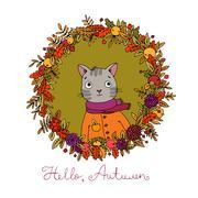 Wreath of autumn leaves. cute cartoon cat. - stock illustration