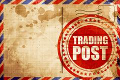 trading post, red grunge stamp on an airmail background - stock illustration