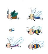 Funny insect cartoon set. - stock illustration