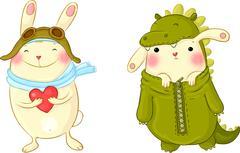 Cute bunnies in fancy dress. - stock illustration