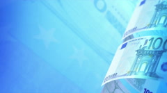 Euros Money Banknotes Rotating Video Background. Seamless Loop. Stock Footage