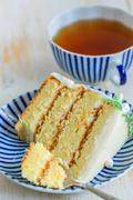 Piece of cake for tea. - stock photo