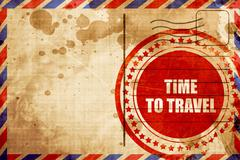 time to travel, red grunge stamp on an airmail background - stock illustration