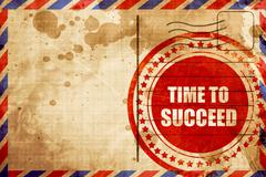 Time to succeed, red grunge stamp on an airmail background Stock Illustration