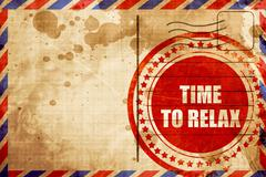 Time to relax, red grunge stamp on an airmail background Stock Illustration