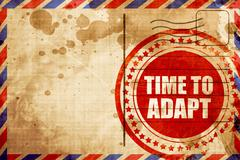 time to adapt, red grunge stamp on an airmail background - stock illustration