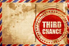 Third chance, red grunge stamp on an airmail background Stock Illustration