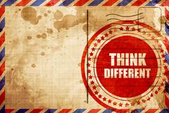 think different, red grunge stamp on an airmail background - stock illustration