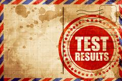 Test results, red grunge stamp on an airmail background Stock Illustration